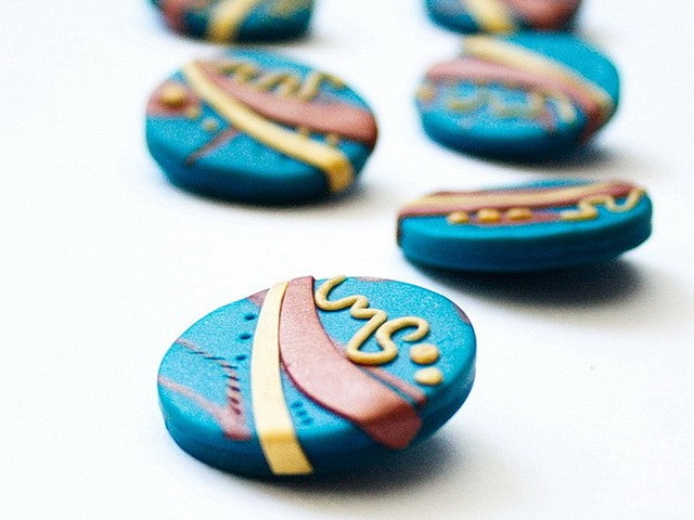 One of a kind polymer clay filigree buttons