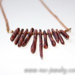 Boho style necklace bronze chips 03